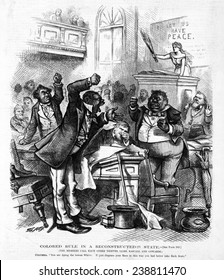 Colored rule in a reconstructed state. Cartoon showing members of the South Caroline Legislature in argument in the House, with Columbia rebuking them. Thomas Nast, artist. Woodcut, 1874