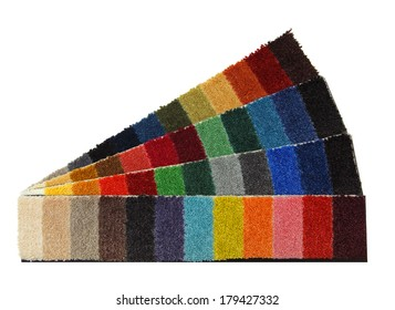 colored sample yarns for carpet on a white background
