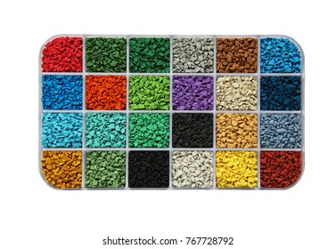 colored samples of rubber granules for the floor