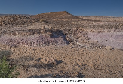Colored Sand park, located in the Ramon Crater (Makhtesh Ramon), close to the northern rim of the crater, along highway #40, Ramon Nature reserve, Mitzpe Ramon, Negev desert, Beersheba, Israel