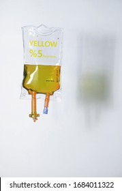 colored serum bag, white background, intensive care, medicine, hospital