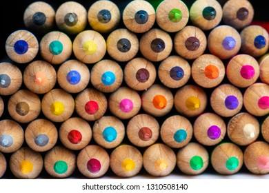 Colored sharpener pencils. Macro shot of many color pencils.