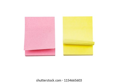 Colored sheets, stickers for recording, yellow and pink stickers. Isolated on white.