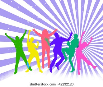 Colored silhouettes of happy jumping people.