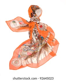colored silk scarf on white background. isolated