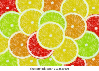 Colored Sliced Citrus Fruits