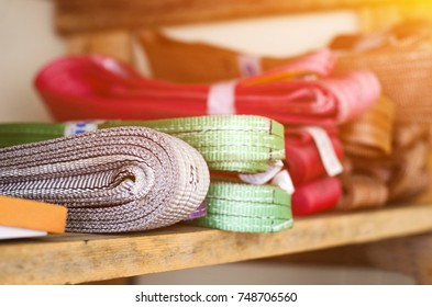 Colored slings operating procedures for heavy loads are on the rack