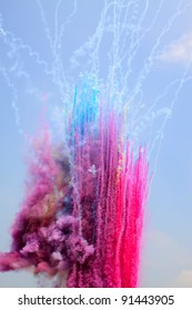 colored smoke in the sky