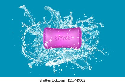 Colored soap on splash water 3d work