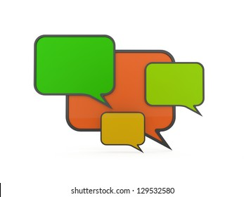 Colored speech bubble concept isolated on white background