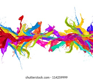 Colored splashes in stripe shape, isolated on white background