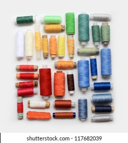 colored spools of threads