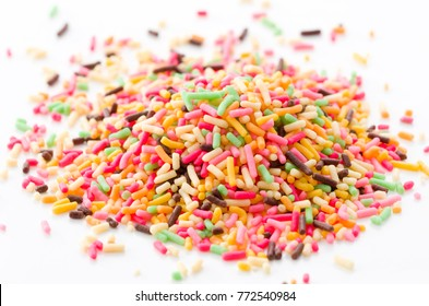 Colored sprinkles,decoration for cake and bekery, Colored sprinkles white background