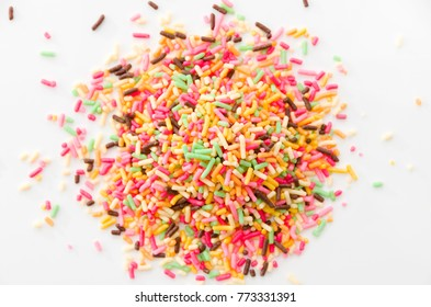 Colored sprinkles,decoration for cake and bekery, Colored sprinkles white background,