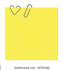 Colored sticker and the paper clip in the form of heart with Clipping Paths