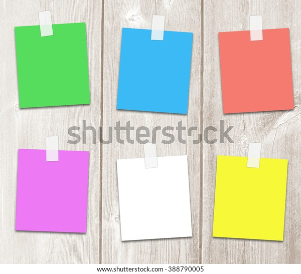 Colored Sticker Paper On Adhesive Tape Stock Photo (Edit Now