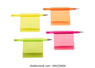 Colored sticky notes with biro pens