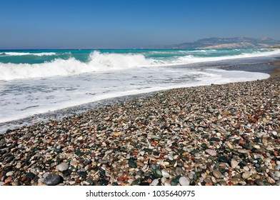 The colored stones on the shore of the Aegean sea