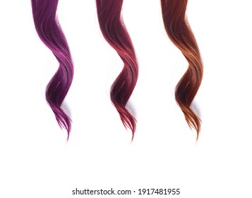 colored strands of hair curls on a white background - Shutterstock ID 1917481955