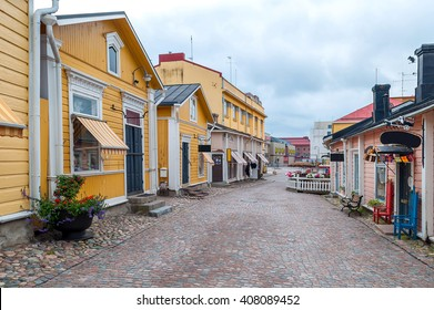 colored street in old town Porvoo, Finland