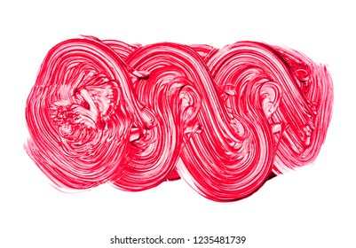 colored strokes of brush isolated over white background