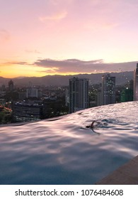 Colored Sunset View from Roof Top Infinity Pool