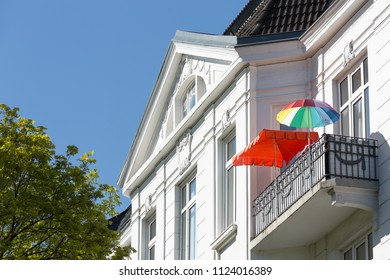 colored sunshade on balcony