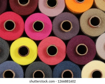 Colored thread for sewing in spools