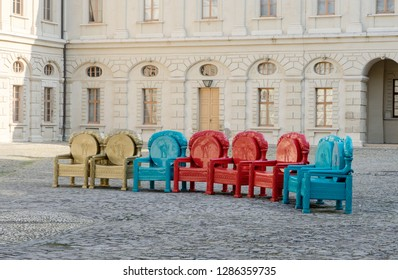 Colored throne chairs in front of the Weimar City Palace