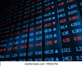 Colored ticker board on bar chart