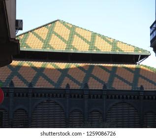 Colored tiled roof of Malaga Atarazanas market building