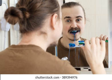 Colored tooth brush April Fools joke on young man
