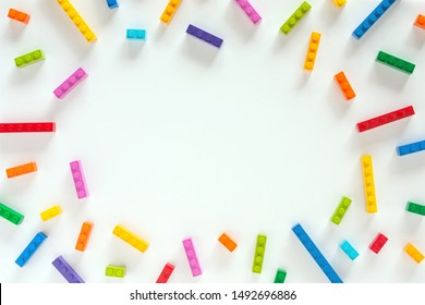 Colored toy bricks with place for text.