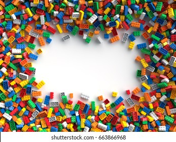 Colored toy bricks with place for your content. 3D Rendering.