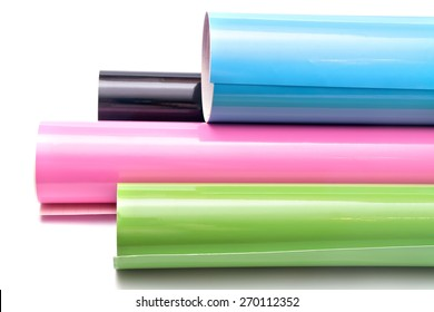 Colored vinyl rolls isolated on white background