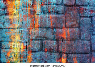 Colored wall, painted with the old paint