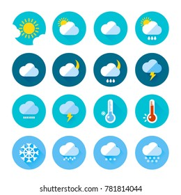 Colored weather icons in flat style. Different visualization of climate. Rainy and sunny days. Rain and sun symbol, climate temperature illustration