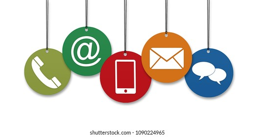 Colored Website and Internet contact us page concept with hanging icons in front of a white background