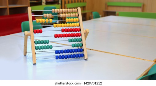 colored wooden abacus to learn how to count numbers on a decimal or ten basis