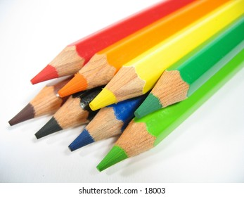 Colored wooden crayons.