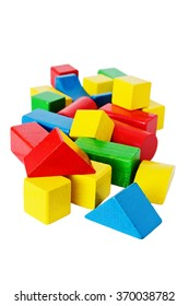colored wooden cubes for child development on a white background. kids toys. selective focus