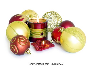 Colored xmas ball white background isolated.