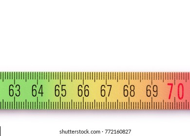 Colored yardstick with numbers from 63 to 70 as a metaphor for fluctuating retirement in front of a white background