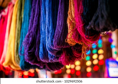 Colored yarn of alpaca wool. Chinchero, Cusco, Perú.