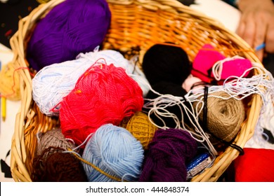 Colored yarn. Knitted sweater