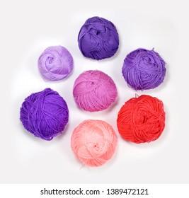 Colored yarn for knitting. Handmade