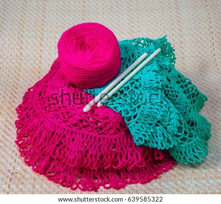952467788a343 Colored Yarn Knitting Spokes On Yellow Stock Photo (Edit Now ...