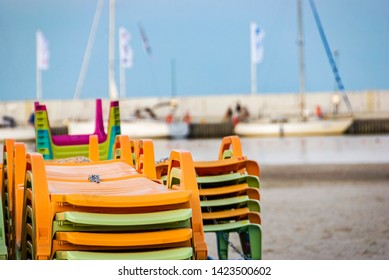 Colorfoul deckchairs with sand and beach in Gdynia