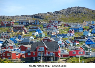 colorfoul houses in qaqortoq, greenland