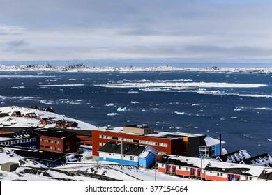 Colorfuk suburb of Nuuk - the capital of Greenland